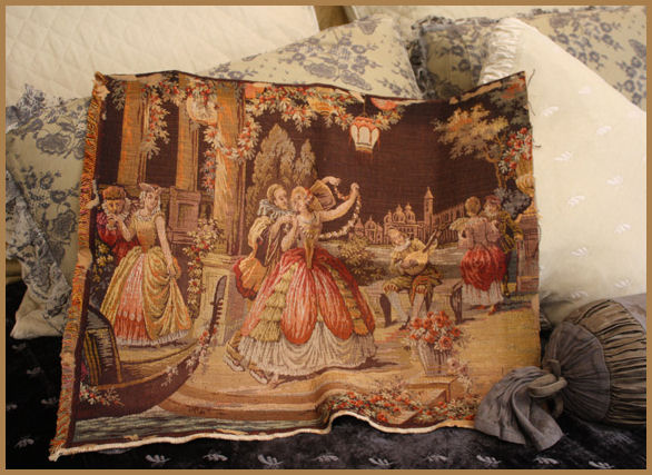 Antique Belgium Tapestry Gorgeous Colors & Scene-