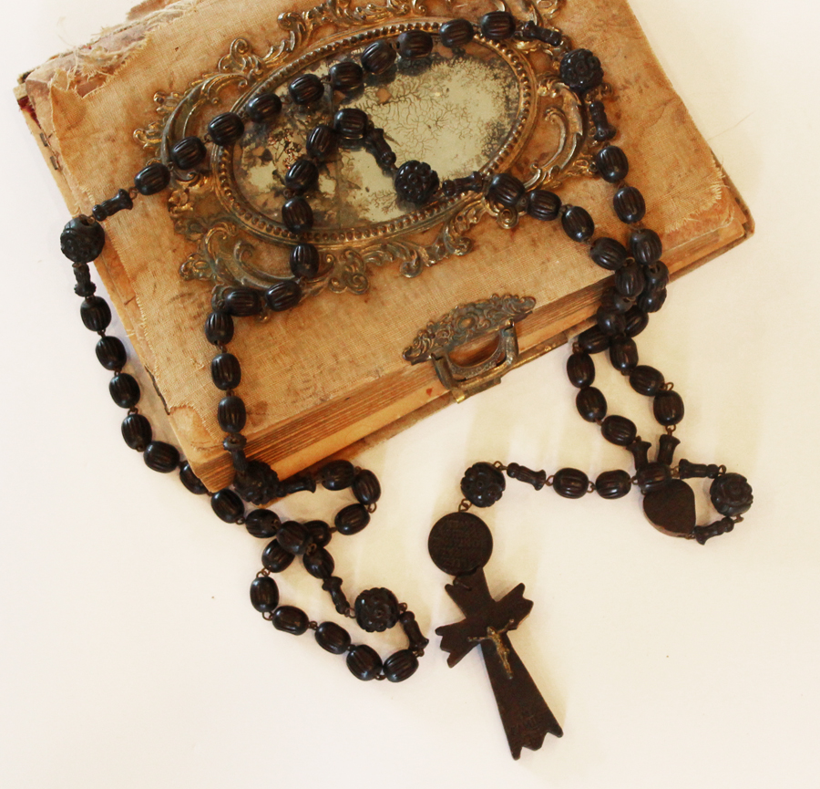 Incredible 1920s Wood French Nuns Black Beads Rare Lourdes France