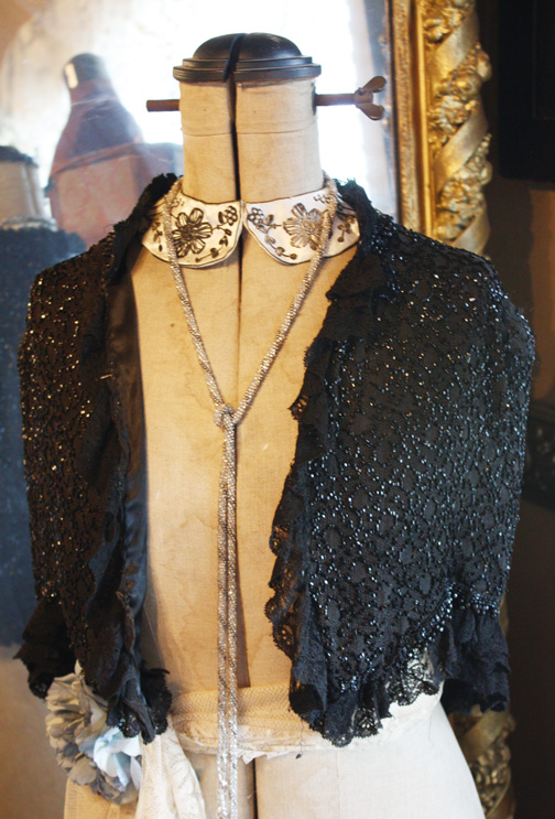 Black Silk Beaded French Victorian Shawl Great for DressForms