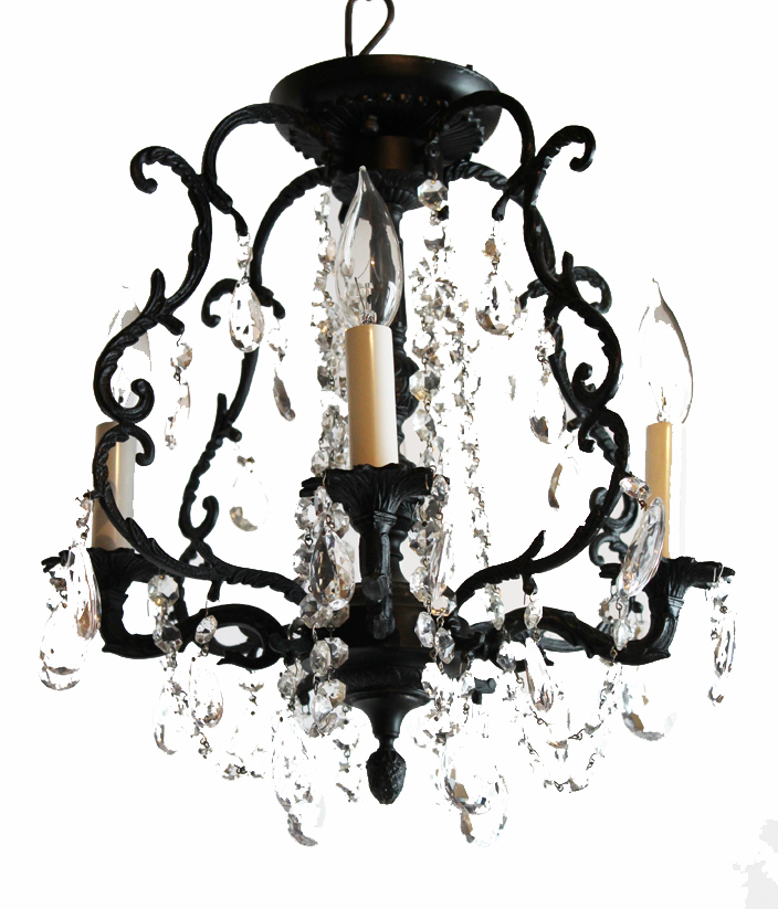 Birdcage Style Antique Beaded Chandelier Large Prisms-