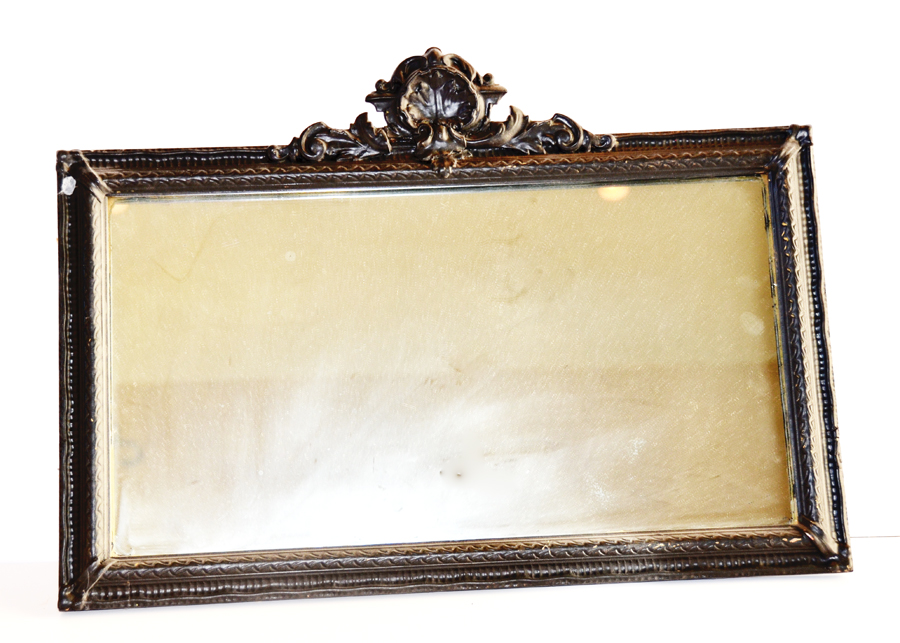 Vintage Black Gesso Carved Mirror-