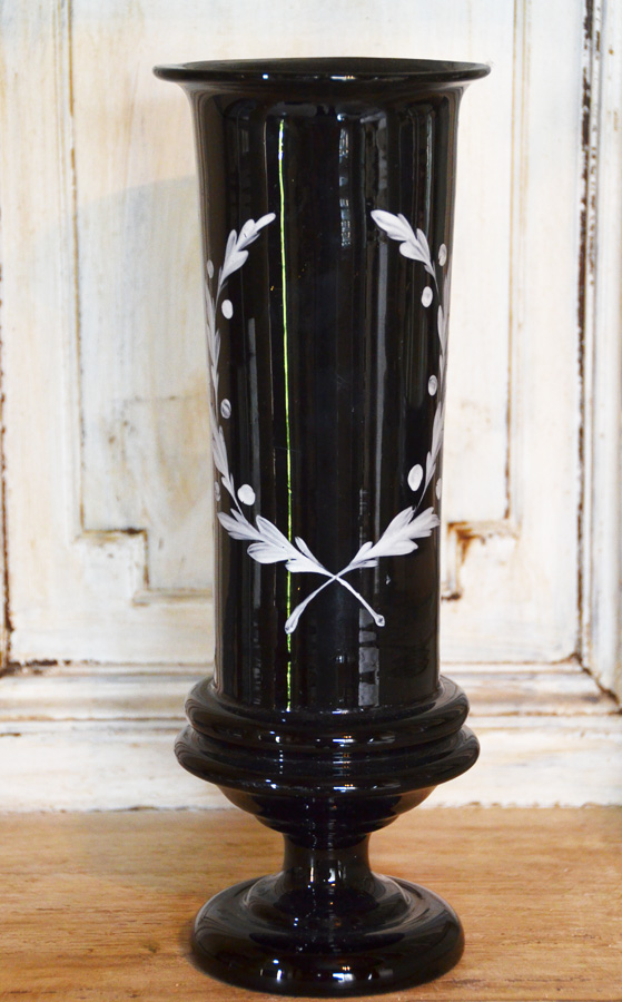 Victorian Antique Black Glass Laurel Wreath Trophy-