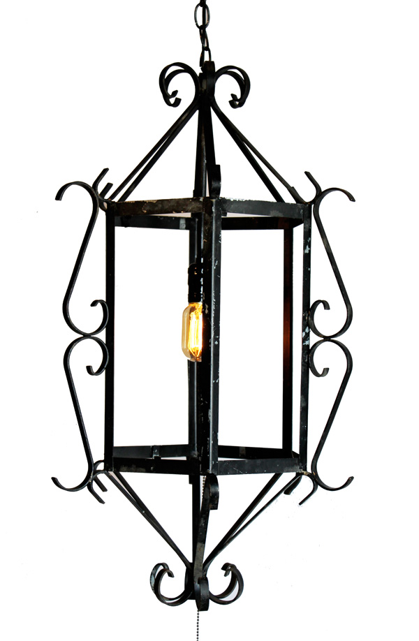 Vintage Black Iron Hanging Lantern Pendant Chandelier