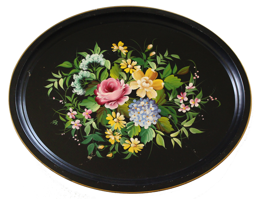 Antique Handpainted & Signed Xlrg Floral Tole Tray