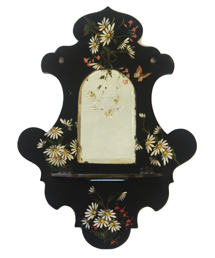 Antique Hand Painted Victorian Shelf Mirror Breathtaking