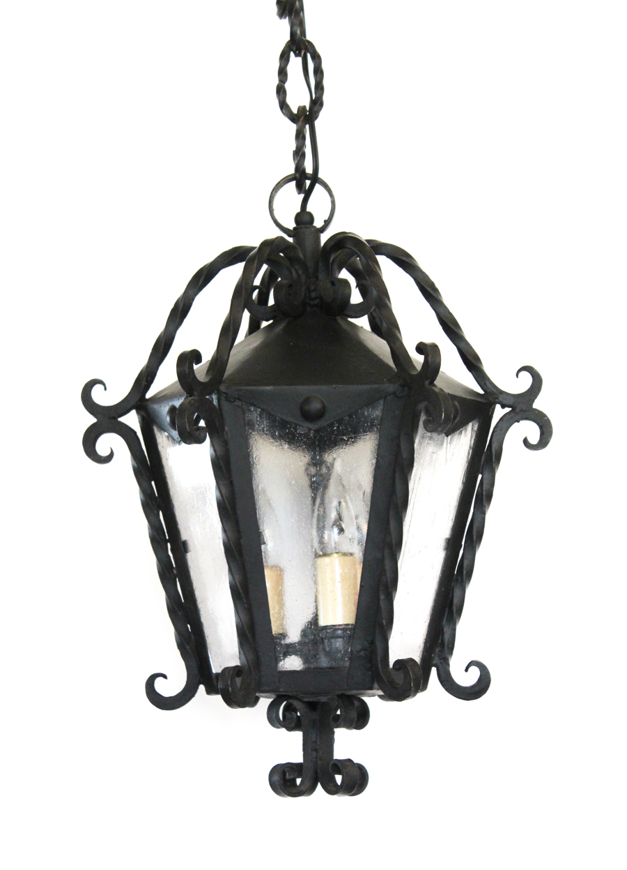Black Wrought Iron Carriage Hanging Light Chandelier Pendant Antique