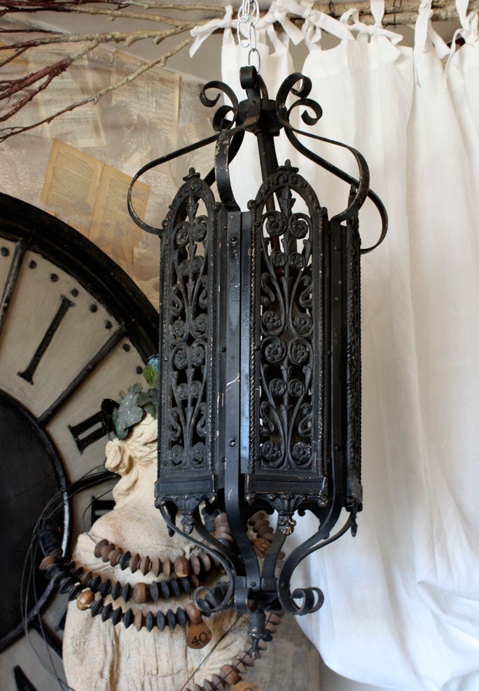 Antique French Wrought Iron Lantern Hanging Light-