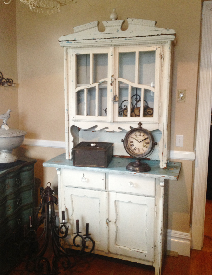 Antique 1900s PRIMITIVE CUPBOARD  White & Aqua-