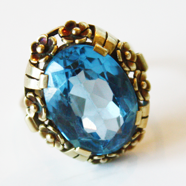 1940s Estate Ring Blue Zircon 14K Yellow Gold