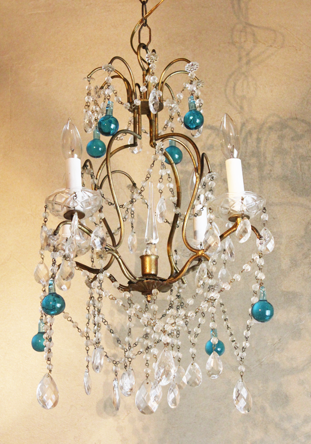 Antique Italian Beaded Chandelier Aqua Prism Crystal Spire-