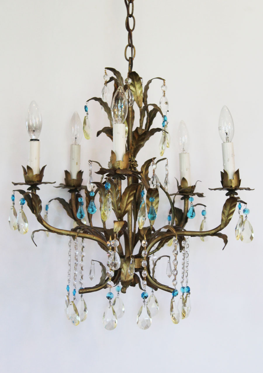 Italian Tole Gilt Leaves Antique Chandelier Blue & Clear Prisms