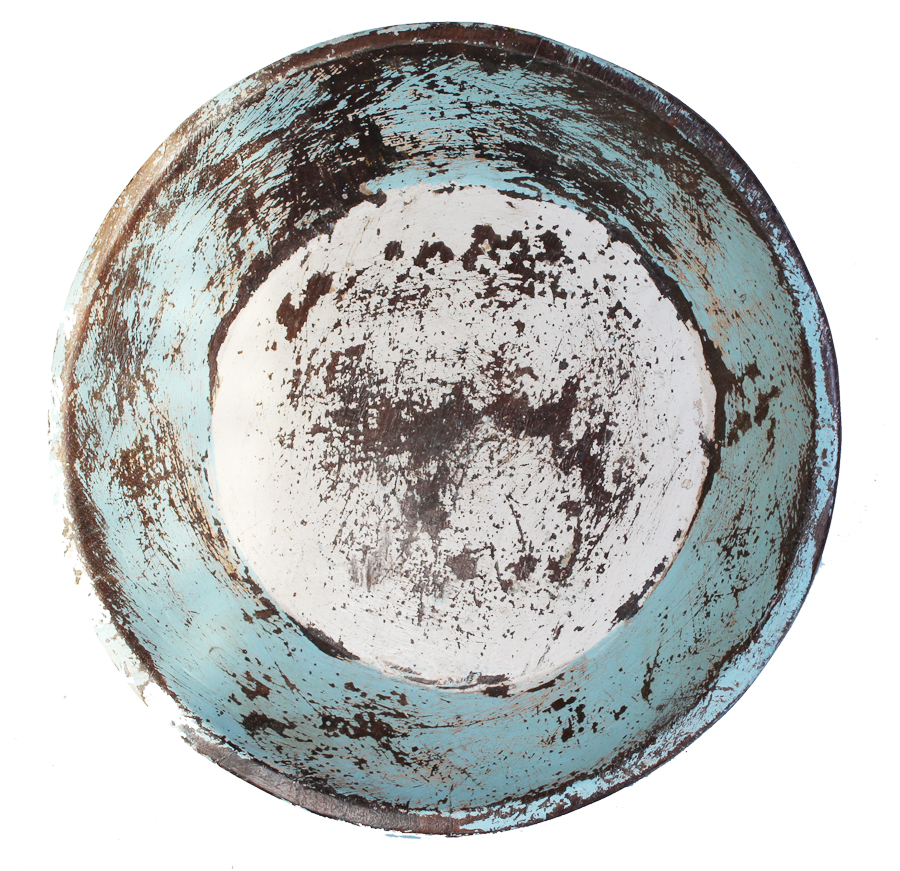 French Robins Egg Blue Hand Carved Wood Dough Bowl-