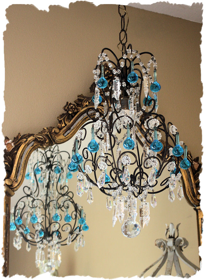 Italian Beaded Antique Chandelier Blue Drops Breathtaking