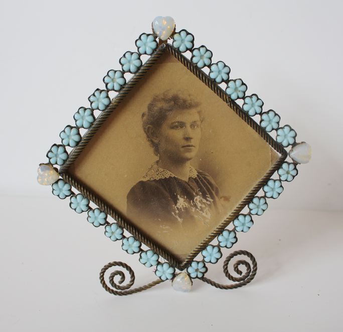 18th C. Opaline Jeweled Wire Work Picture Frame-