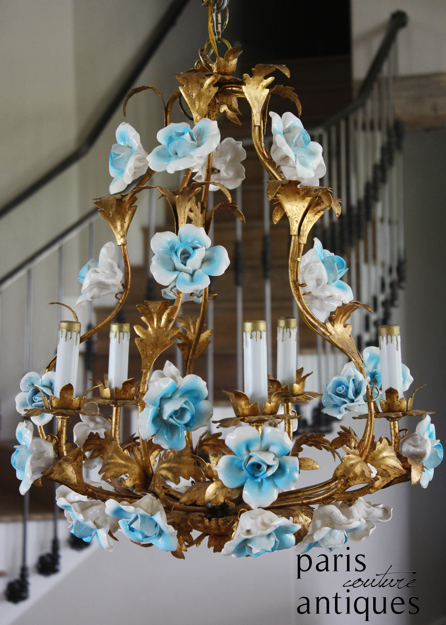 Italian Tole Antique Blue Porcelain Rose Chandelier