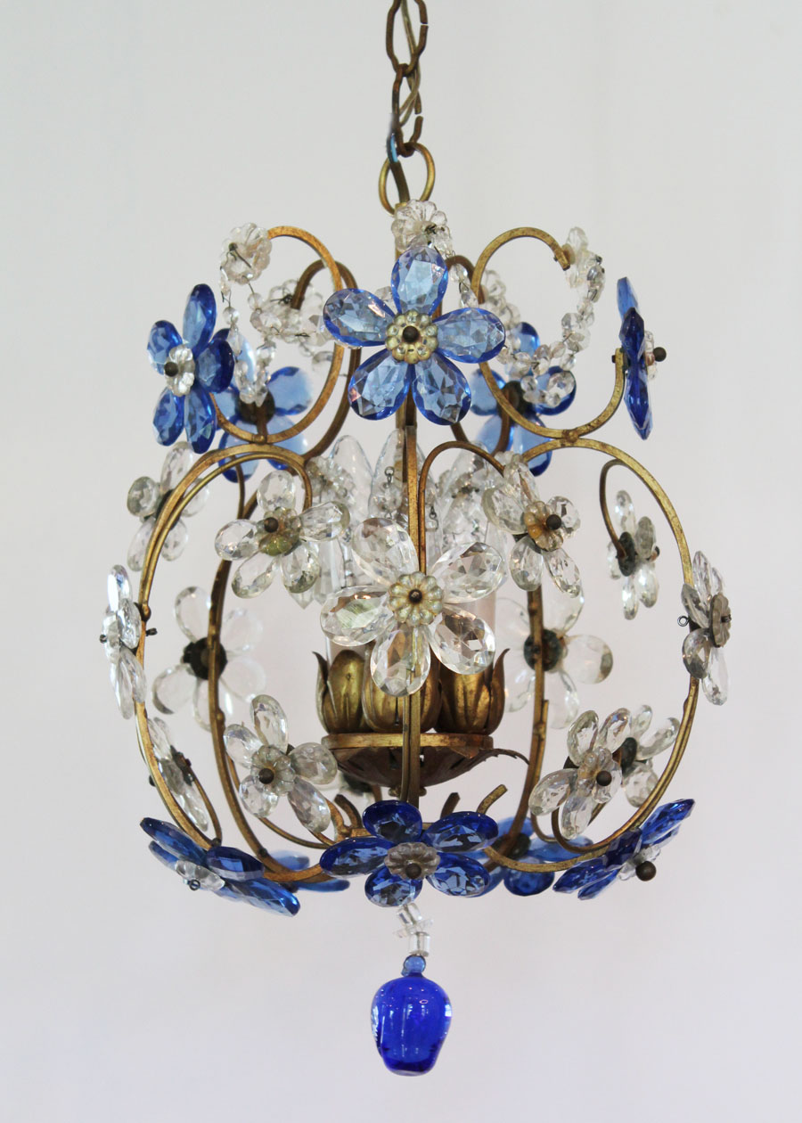 Italian Beaded Blue Flowers Chandelier