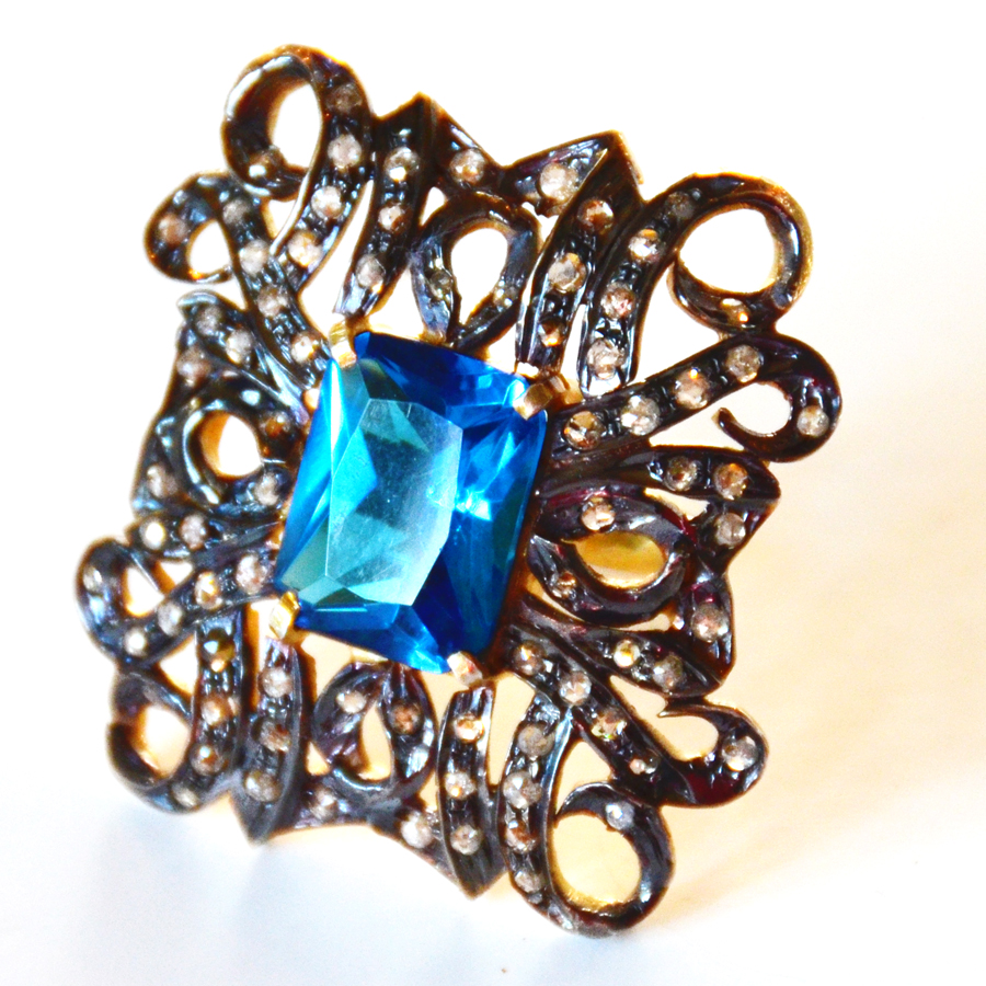 2.45 Carat Diamond & Blue Topaz French Ring-