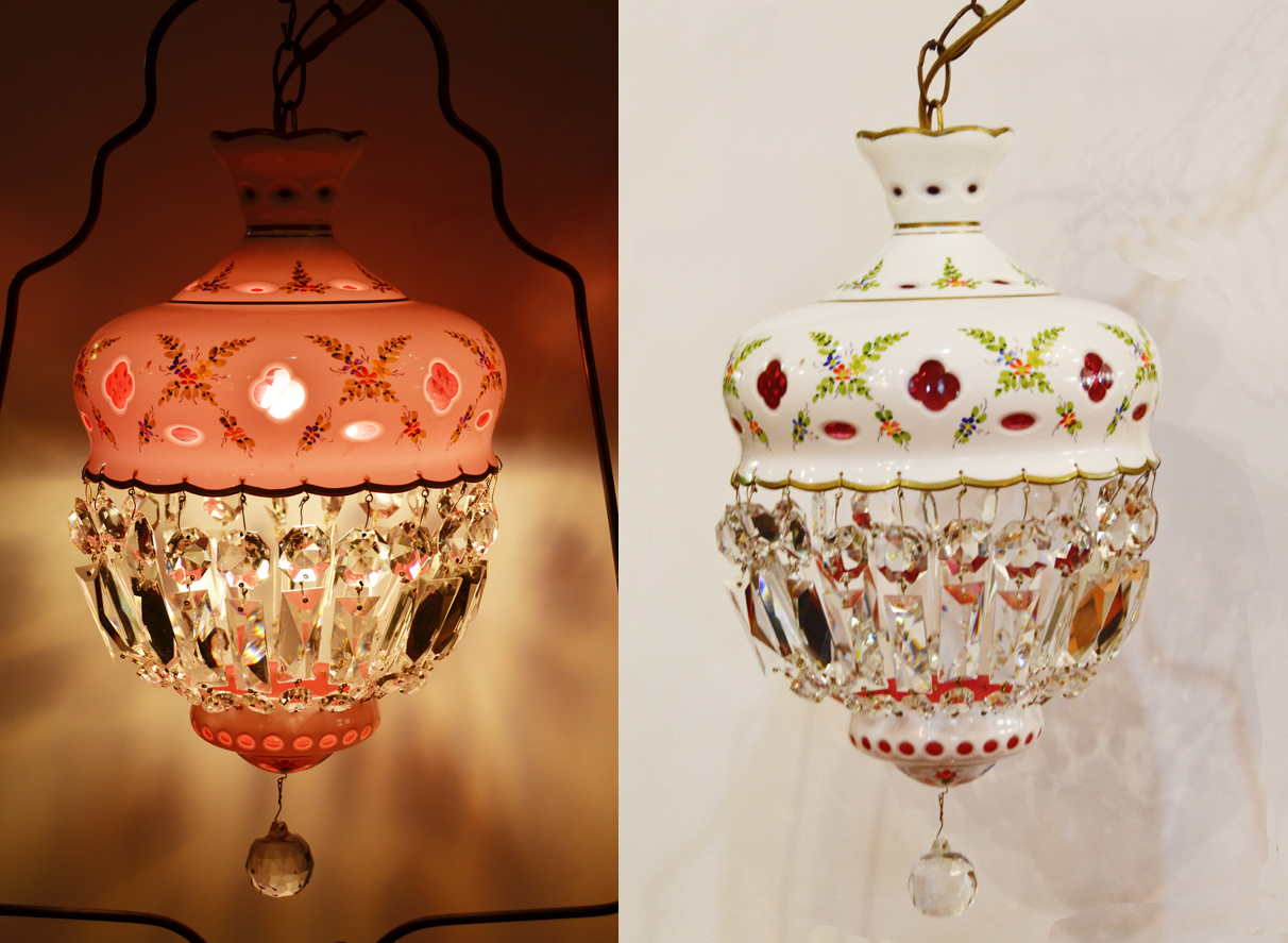 Antique Czech Bohemian Glass Swag Chandelier-
