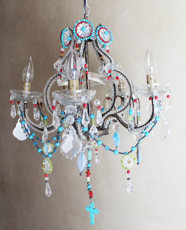 One of a Kind- Amazing Beaded Boho Chandelier-