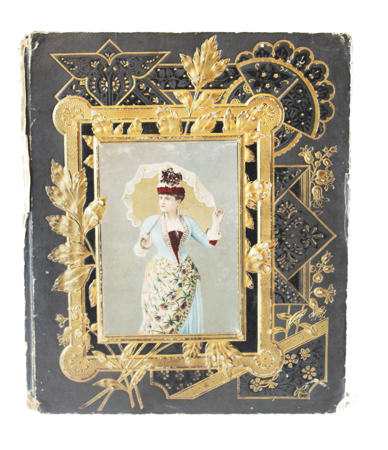 Antique 1800s Victorian Scrap Book Cover Embossed Picture-