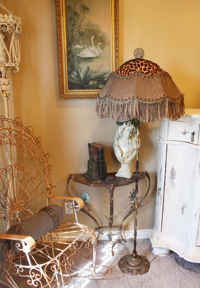 Incredible French Antique Floor Lamp Unbelievable Shade-