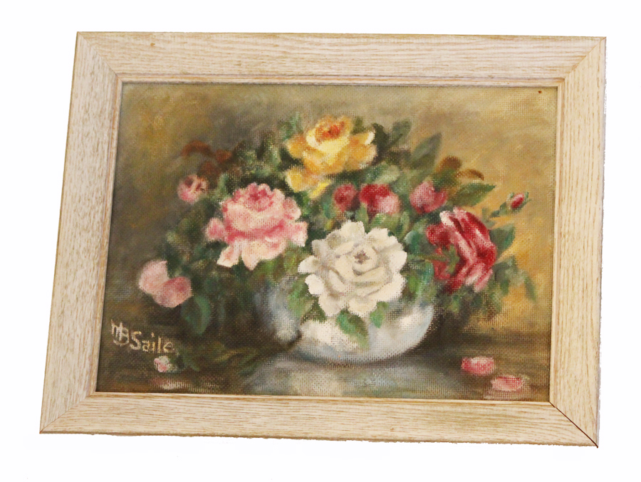 Vintage Floral Framed Painting Bowl Of Roses