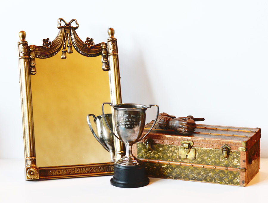 French Brass Ribbons & Bow Table Mirror