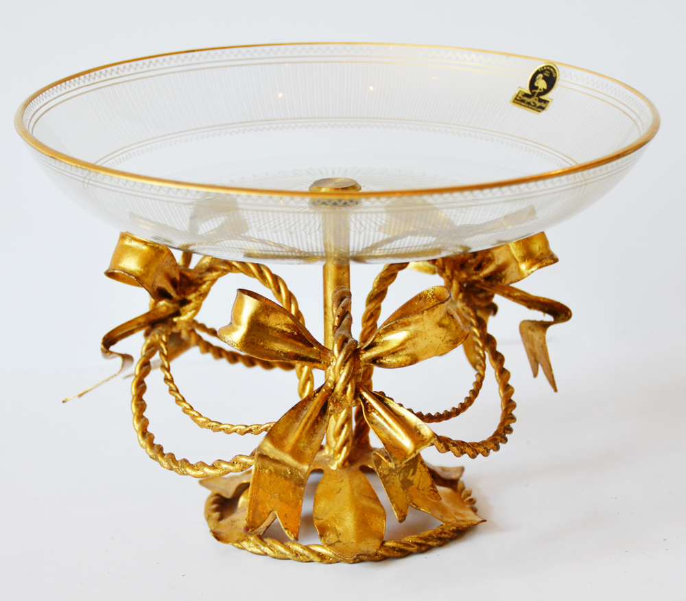 Antique Italian Tole Crystal Compote Gilt Bow Swags-