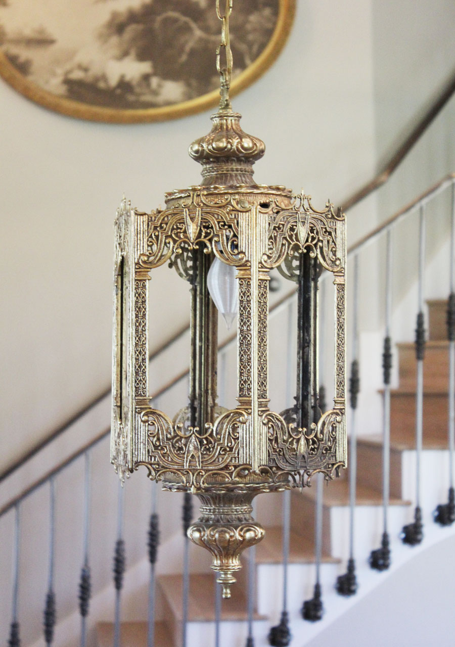 Antique Brass Filigree Lantern Hanging Light