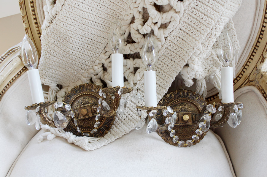 Gorgeous Pair Antique Brass & Crystal Wall Sconces-