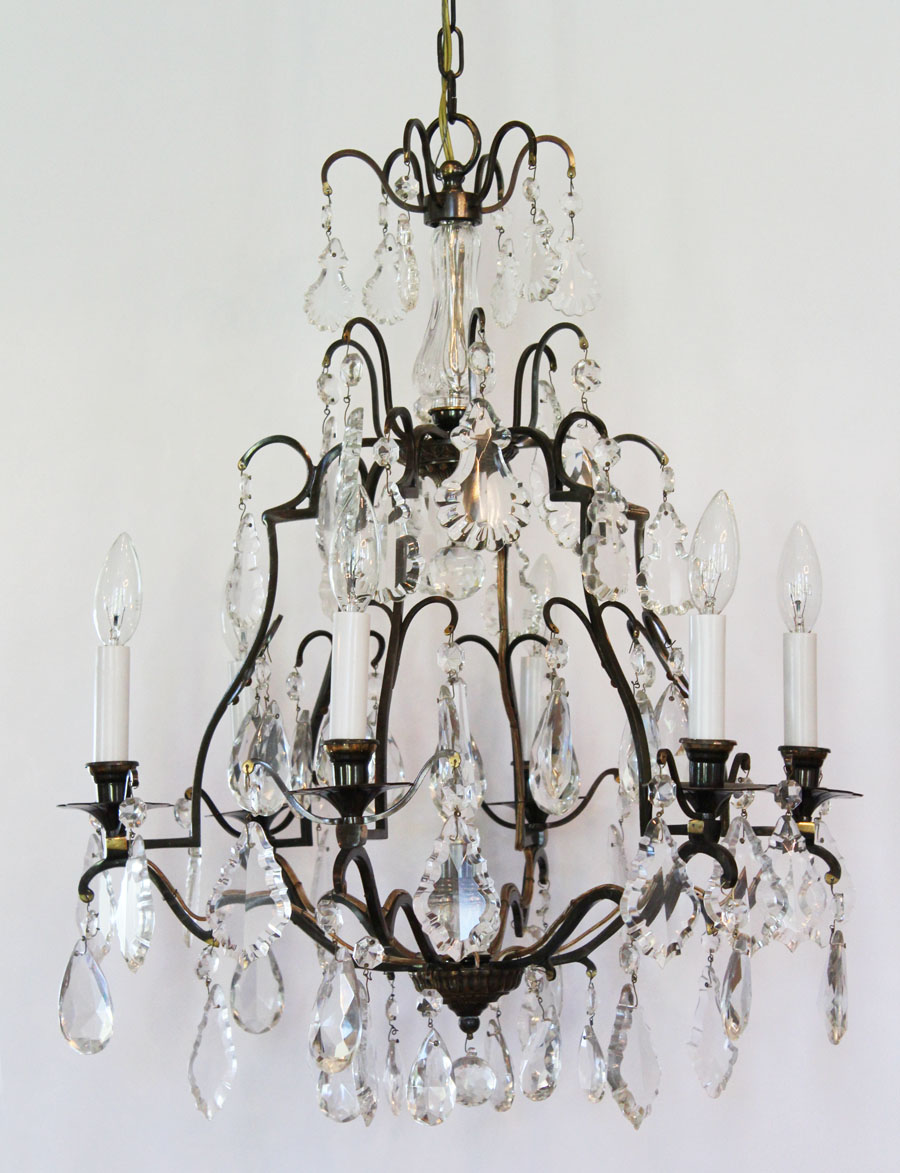 French Antique Bronze Crystal Chandelier Gorgeous