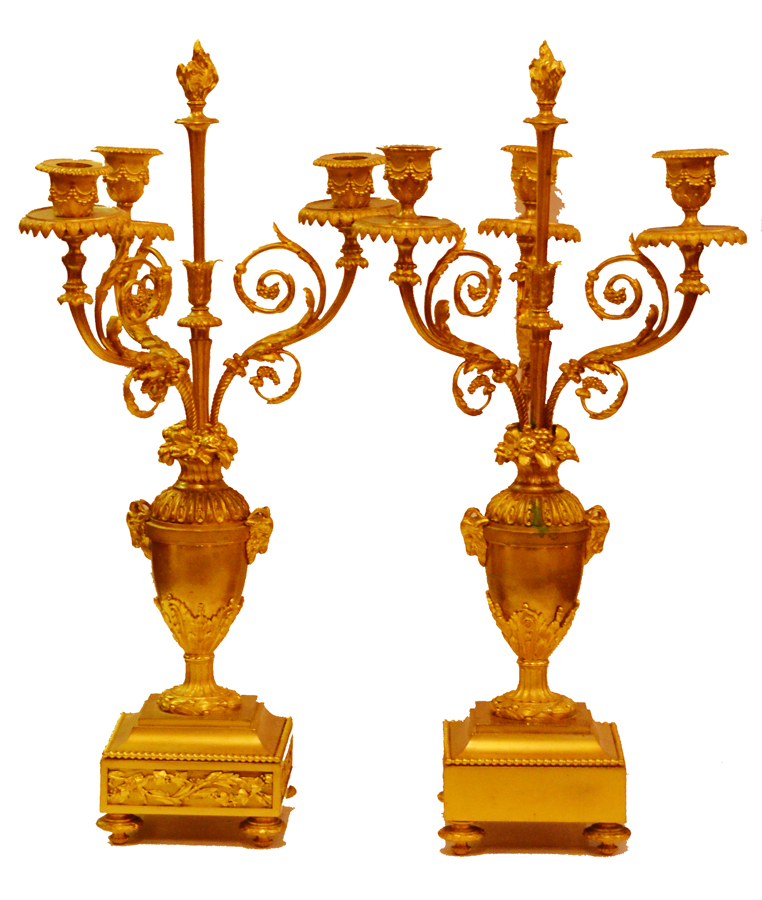 Pair Ormolu French Bronze Candelabras early 19th C. NeoClassical-