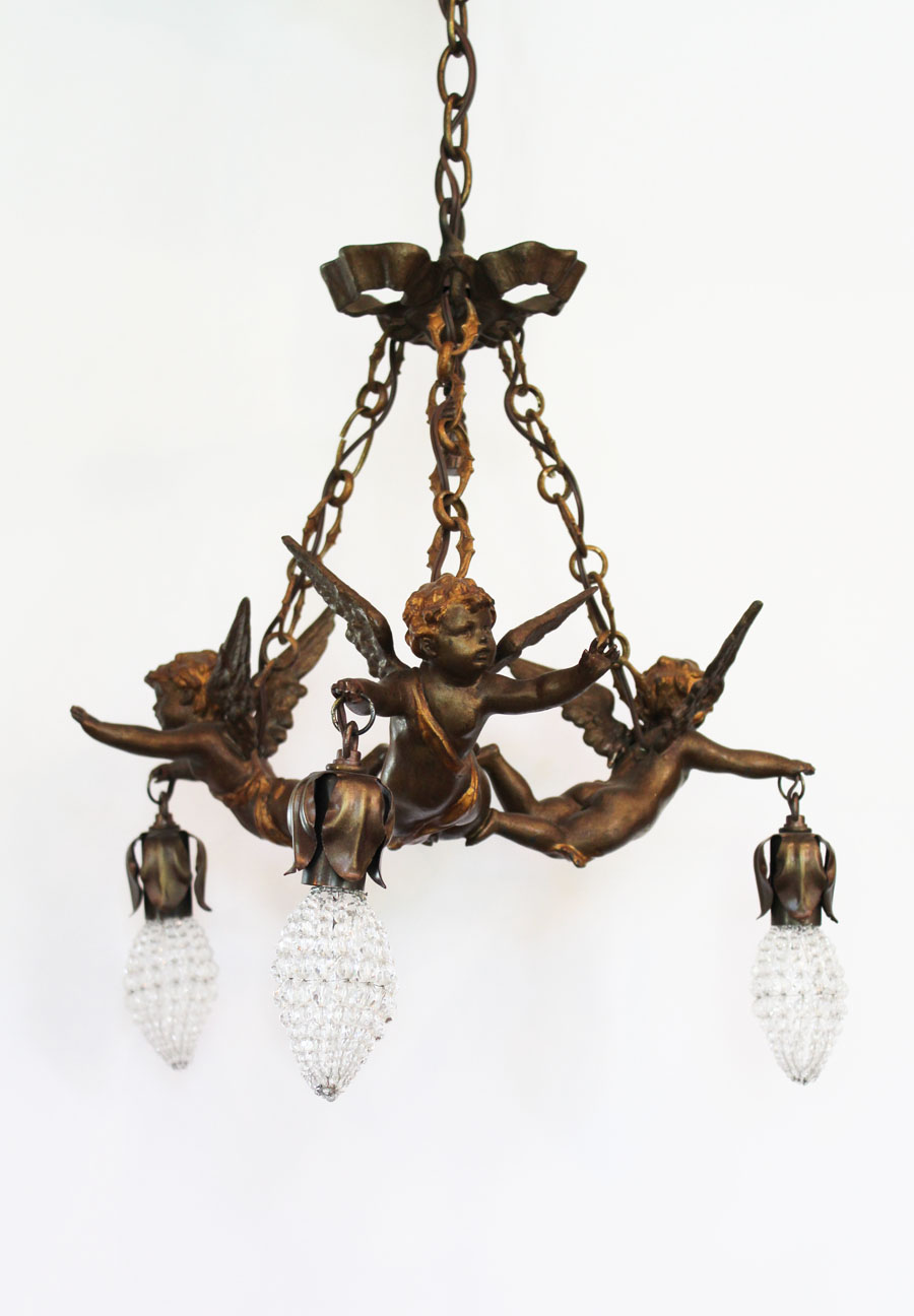 French Antique Bronze Flying Cherubs Chandelier Gorgeous