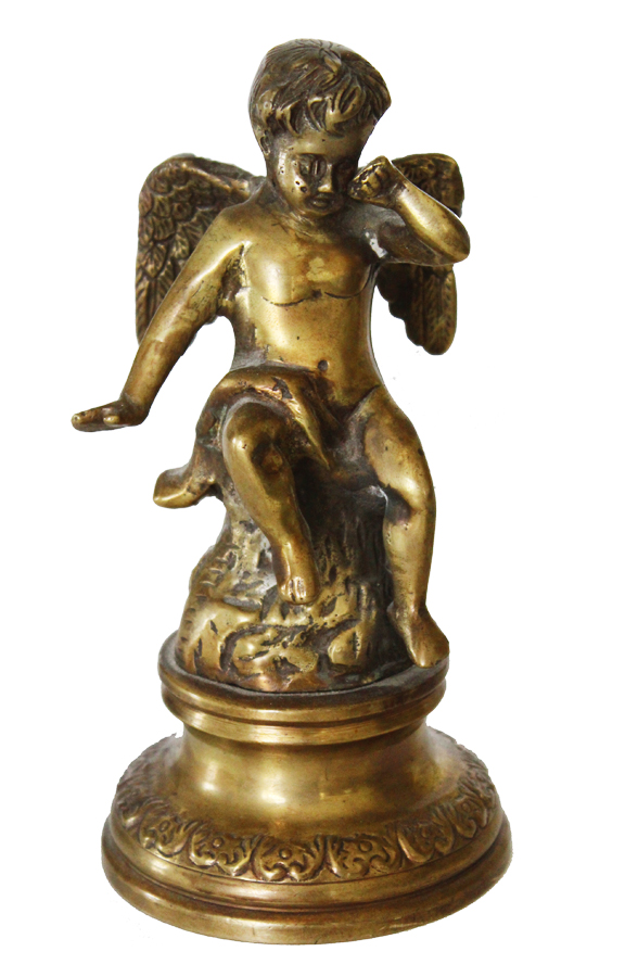 Antique Cherub/Putti Bronze Winged Figure Gorgeous Details