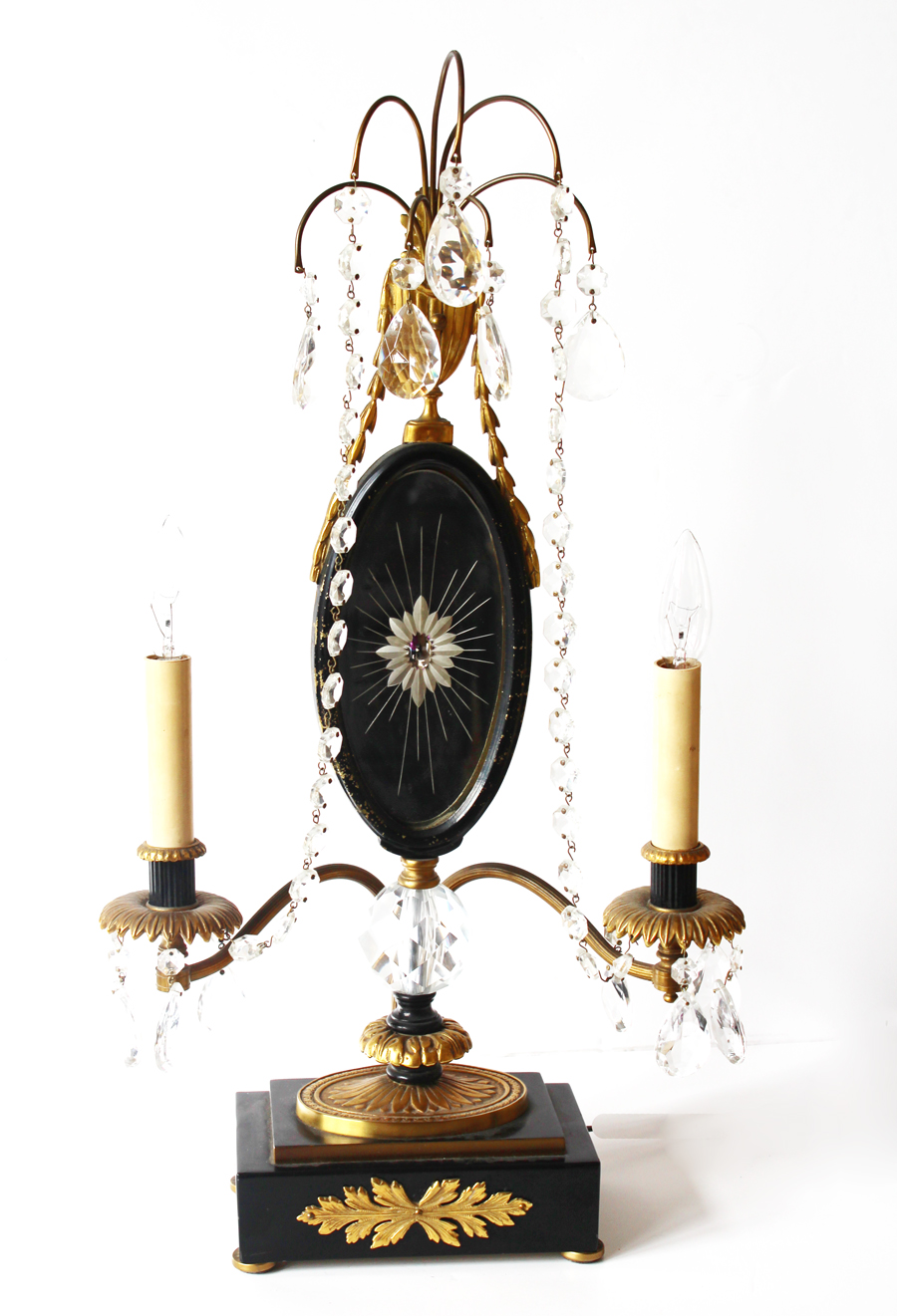Antique Bronze Ormolu & Crystal Candelabra Girandole Lamp-
