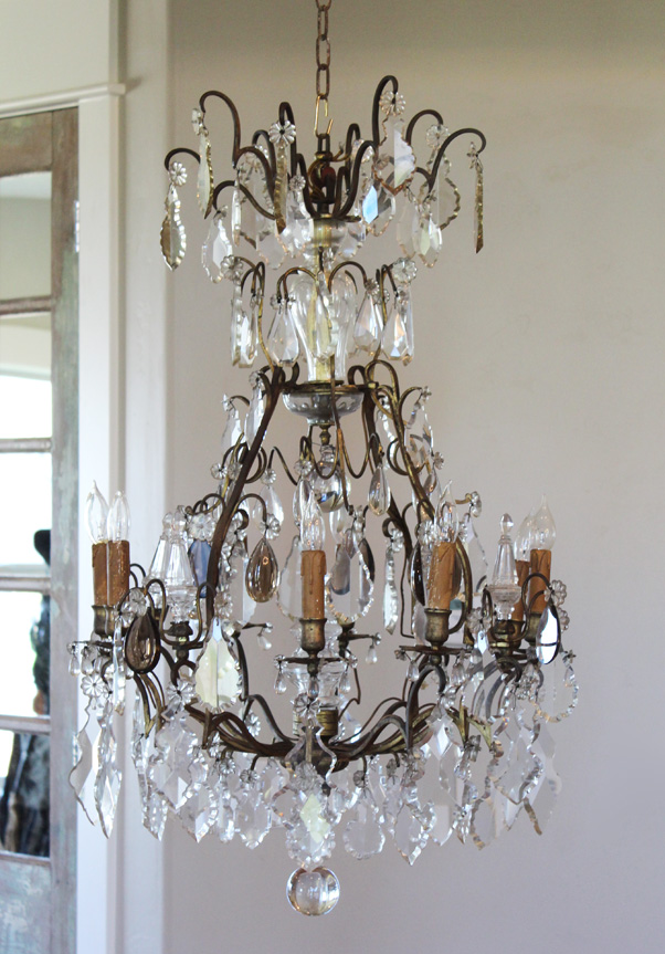 Early 1800s French Antique Bronze Crystal Electric Chandelier Showstopper-antique, lighting, chandelier, wall sconces, beaded, French, vintage, shabby chic, beaded sconce, Italian, pendant, European, sconce