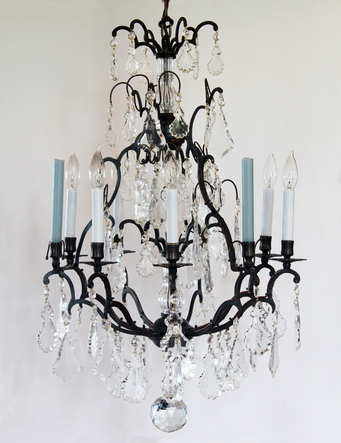 Late 1800s Incredible Antique Bronze Crystal with Spire Electric Chandelier