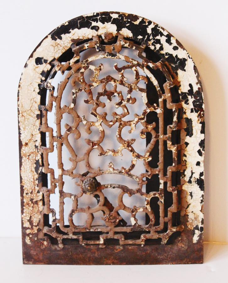 Antique Arched Original Paint Wrought Iron Grate