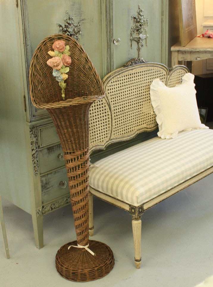 Breathtaking Antique Barbola WICKER FLOOR PLANTER