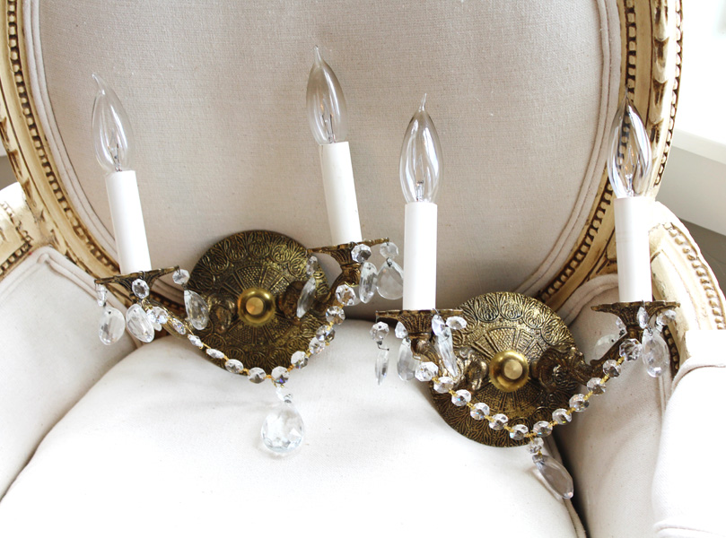 Antique Brass Pair Crystal Wall Sconces-antique, lighting, chandelier, wall sconces, beaded, French, vintage, shabby chic, beaded sconce, Italian, pendant, European, sconce, brass, crystal