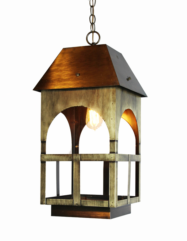 Vintage Brushed Brass Hanging Lantern-