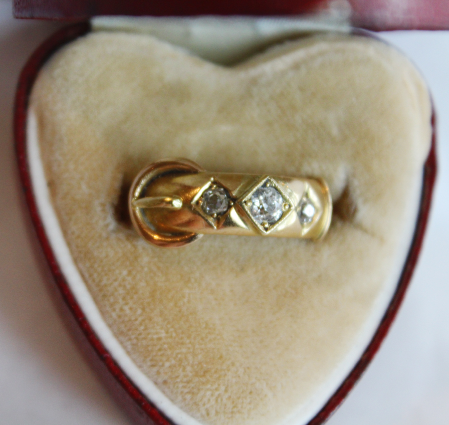 Victorian Buckle Antique Diamond Ring .50 Diamonds TW