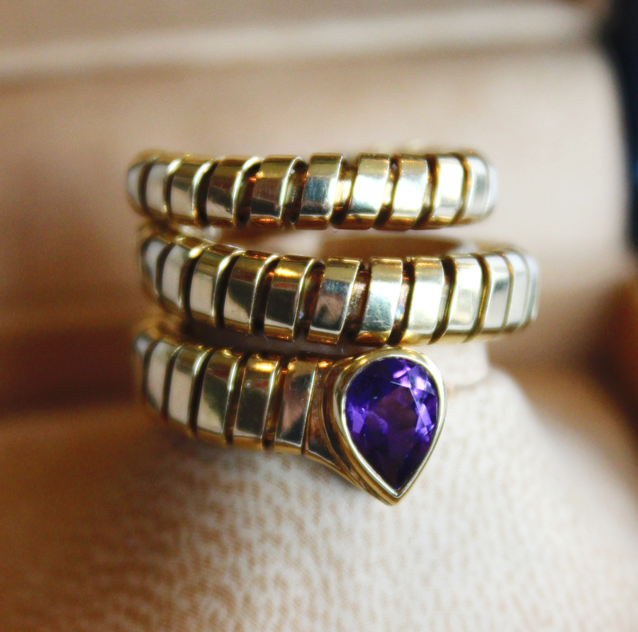 Vintage Unworn Bulgari Snake Ring with Amethyst Stone