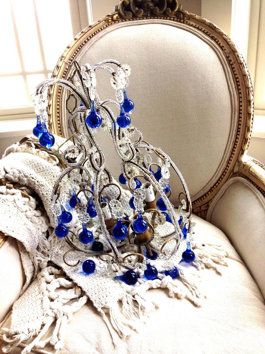 Incredible Antique Italian Beaded Chandelier Blue Drops-