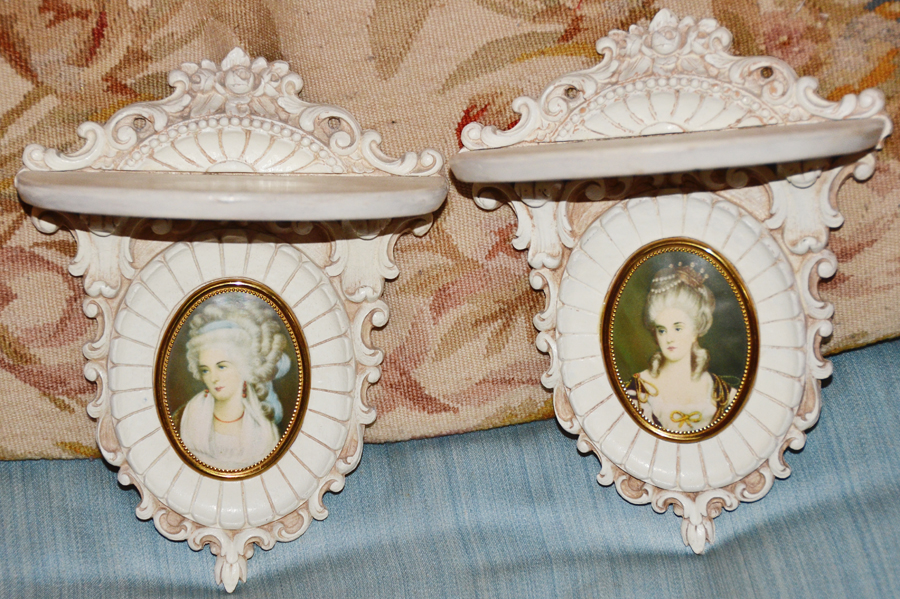 Pair Antique French Carved Wood Cameo Shelves-