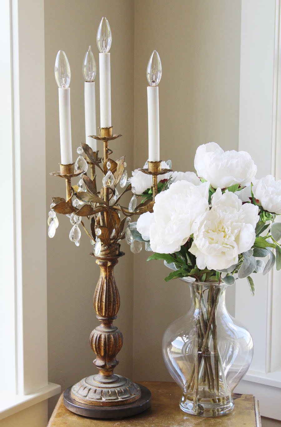 French Tole Antique Girandole Table Chandelier Candelabra
