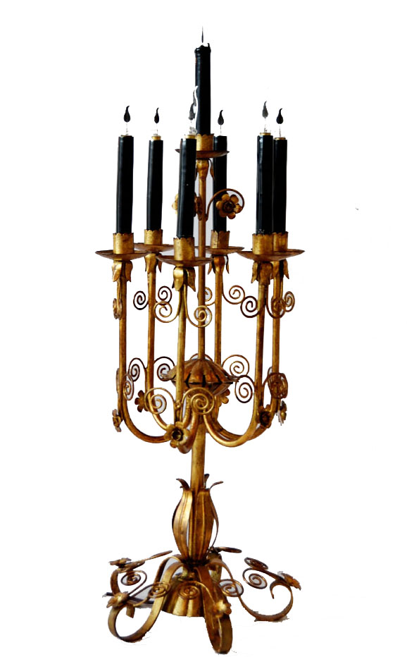 Antique Italian Tole Gilt Table Candelabra Girandole Rare-