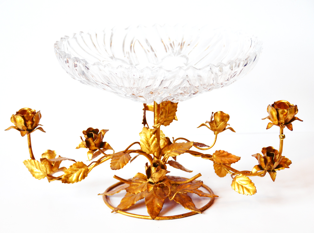Incredible Italian Tole Gilt Bazel Crystal Compote Candelabra Rare-