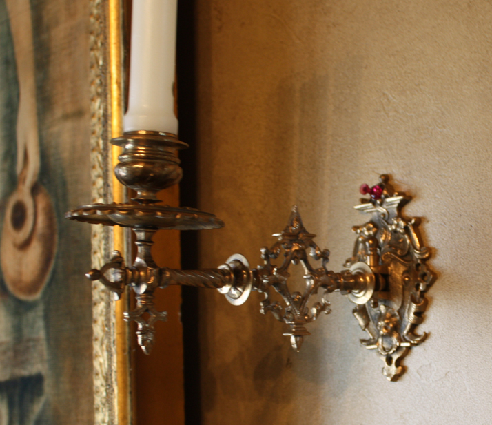 Pair French Swivel Candle Sconces 19th C.-