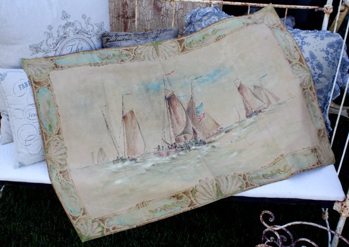 Early 1900s Oil on Canvas Sailboat Regatta Ocean Scene-